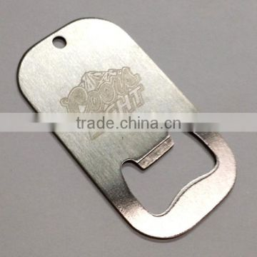 stainless steel dog tag bottle opener keychain