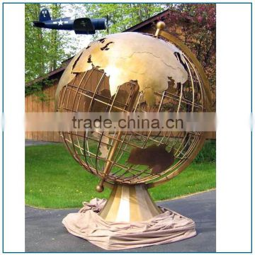 Large Cast Brass Bronze Globe Sculpture Statue