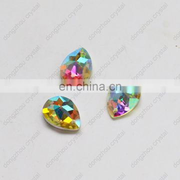 DZ-1053 drop sew on crystal ab color flat back glass stones for dresses
