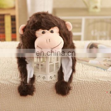 Top quality stuffed plush monkey hat with fur fabric