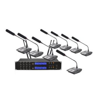 Professional Black 8 Headset Mic 8 Channels Multichannel UHF 8 Channels Wireless Microphone System