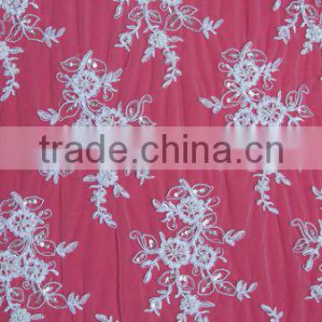 Beaded Tulle Lace Embroidery Fabric fabric with cutwork embroidery