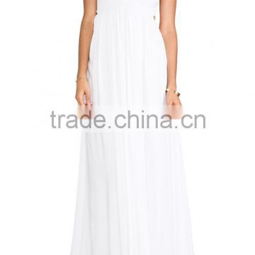 Sexy ladies sleeveless backless cut out back elastic plus size smocked pleated boho chiffon long maxi dresses for holiday