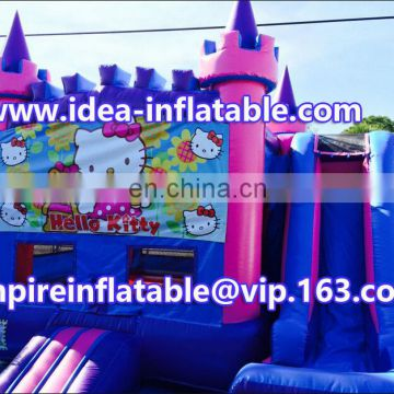 castle type inflatable kitty combo castle with slide ID-CB083