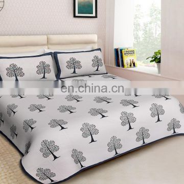 Indian Latest Bedspread King Size handmade print 100% Cotton Fabric Bedding set