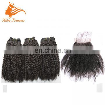 First Class Hot Sale Afro Kinky Virgin Human Brazilian Hair Bundles With A Closure