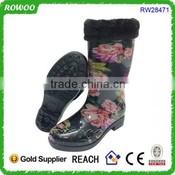 rain boots with collar, long rubber boots, rain boots with fur lining