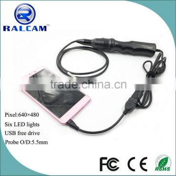 Factory supply video camera 5.5mm lens pipe inspection endoscope camera for android phone with otg