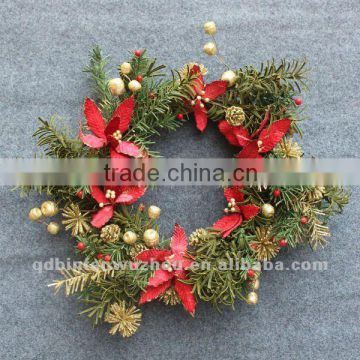 Artificial Ringed By Gold Berry with Red Flowers
