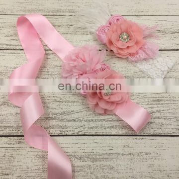 Pink Ribbon Sash Matching Headband Sets Maternity Sash With Lace And Feather Baby Shower Favors