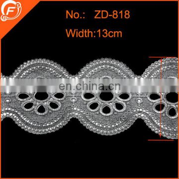 2014 fashion silver embroidered lace trim for dress flower pattern