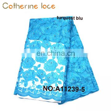 Catherine Wholesale Net French Lace Fabric African With Beads Stones