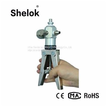 Portable hand held pressure test pump calibrator