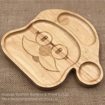 Wooden Plate for Children,Made of Rubber Wood