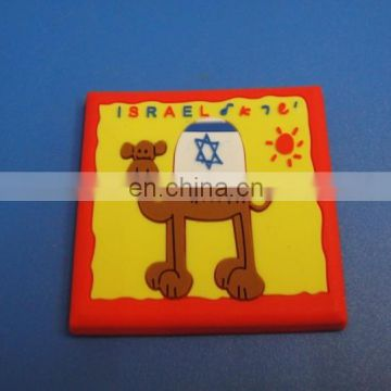promotion rectangle shaped embossed camel logo coaster cup mat