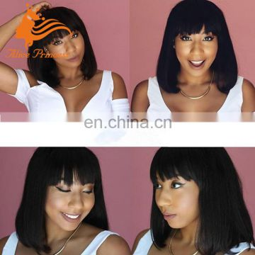 short bob style human hair full lace wig straight bob wigs with fringe