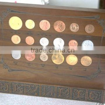 Custom logo printing wood coin boxes wholesale