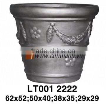 Vietnam Round High Quality Dark Painted Terracotta Pottery