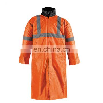 Hi-Vis safety Long Orange Raincoat