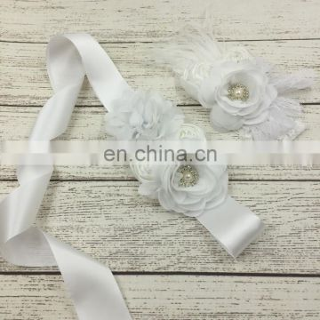 White Chiffon Sash & Headband Sets With Luxe Bloom Lace Floral Sash Belt For Baptism Baby Accessory