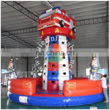 Inflatable climbing tower fire truck