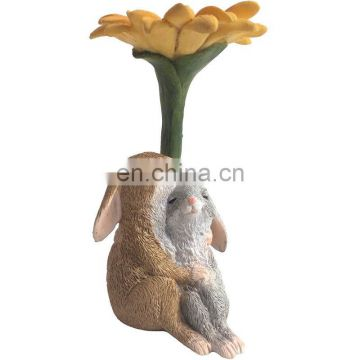 little cute rabbit with mushroom garden figure decoration