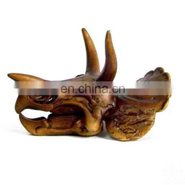 cheap resin antique imitation bronze-colored dinosaur head skull