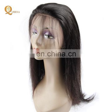 Wholesale full lace wig peruvian virgin hair silky straight wave human lace wig