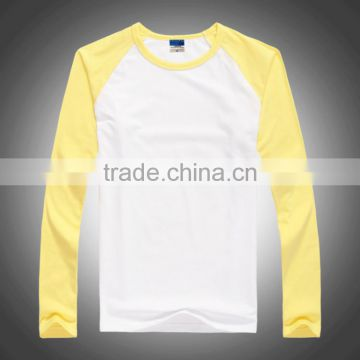 Good quality and fashion Male Long sleeve Raglan T shirt Round sleeve t shirt for men