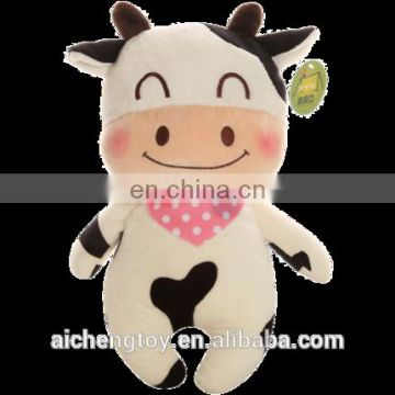 high quality custom comfortable baby plush toy cow with pink scarf