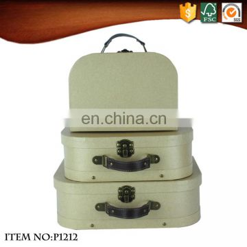 OEM Mini Kraft Paper Cardboard Suitcases with PU leather handle