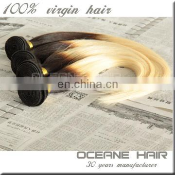 Unprocessed factory price cheap straight ombre hair weaves