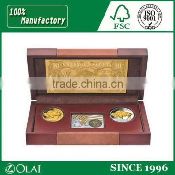 Small wooden box for coins, coin box display, gift box for coins