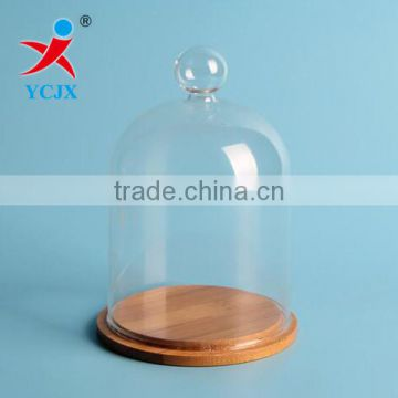 Custom Handmade Clear Glass Dome with Mini Ball and Bamboo Base