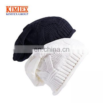 Custom Winter Baggy Oversize Knit Warm Hat Thick Soft Stretch Slouchy Beanie Skully Cap