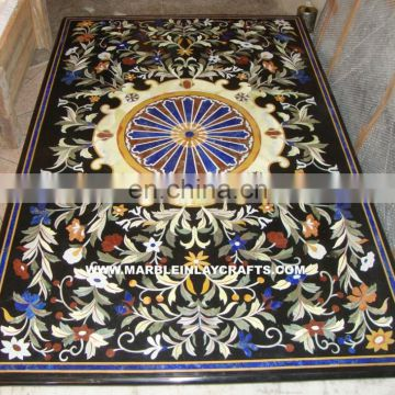 Black Marble Pietra Dura Dining Table Top