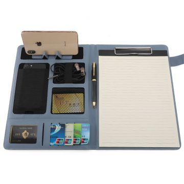 Fashion Office Manager Business Clip Conference A4 Three Color PU Leather Meeting Folder