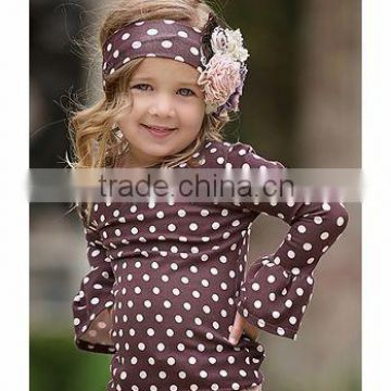 Children polka dot printed black white dots tee for baby girls polka dot blouses pant set