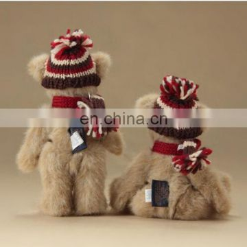 promotional toy custom teddy bear with scarf have a sweater, shirt or green ribbon