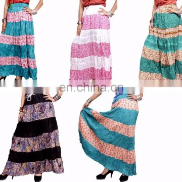 Indian Cotton Designer Printed Long Skirt Dress Gypsy Boho Hippie Casual patchwork Long Skirts Wrap women wholesale