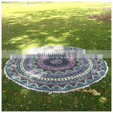 Indian Round Mandala Tapestry Bohemian Round Roundie Hippie Beach Throw Yoga Mat Tapestry Decor Cotton Table Cloth