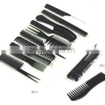 10pc Hair Comb Set, plastic comb, hair brush