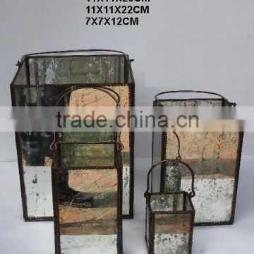 Brass and glass Lantern in four sizes with Antique silver finish on glass