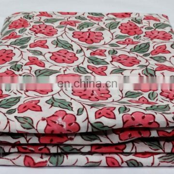 Hand Block Print Handmade Cotton Fabric Floral Print Natural