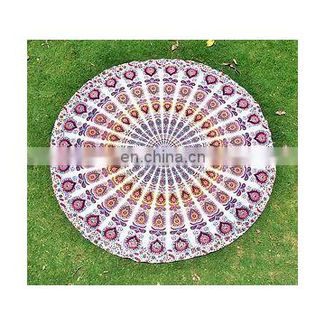 Round Mandala Indian Bohemian peacock Tapestry Beach Picnic Throw Towel Rug Round Mandala Wall Hanging Beach picnic Wholesale