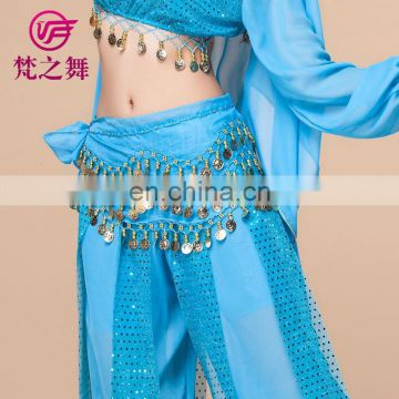 Cheap chiffon 128 coins belly dance hip scarf belt with gold coins Y-2012#