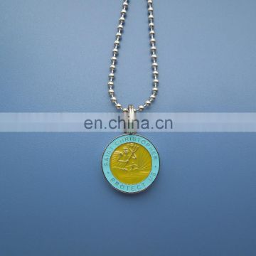 20mm plating glossy silver embossed logo Saint Christopher Protect Us transparent soft enamel logo metal necklace decoration