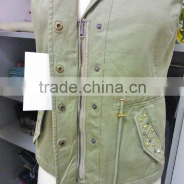 100% Cotton Twill Enzyme Wash Ladies' Casual Sleeveless vest / Waistcoat with Cotton Lining and Shiny Rivets