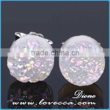 Wholesale Newest Fashion 925 Sterling Silver Yellow Druzy Jewelry Stud Earrings