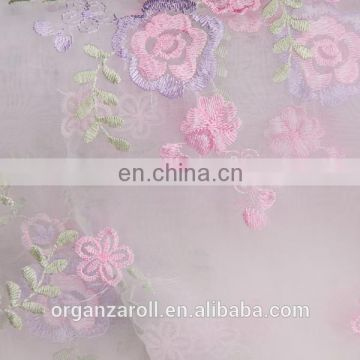 2016 popular floral fabric embroidered organza fabric
